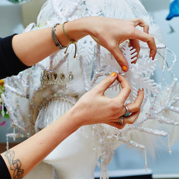 Head dress being decorated